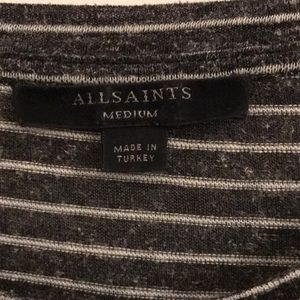All Saints Tops - All Saints Grey and White Striped Tee